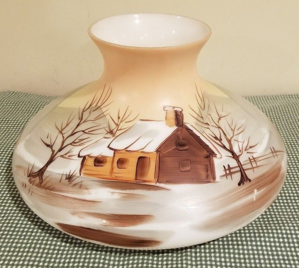 Vintage Hand Painted Glass Oil Lamp Shade Tam O Shanter Winter Cabin Scene 10 Oil Lamps Lamp Shade Tam O Shanter