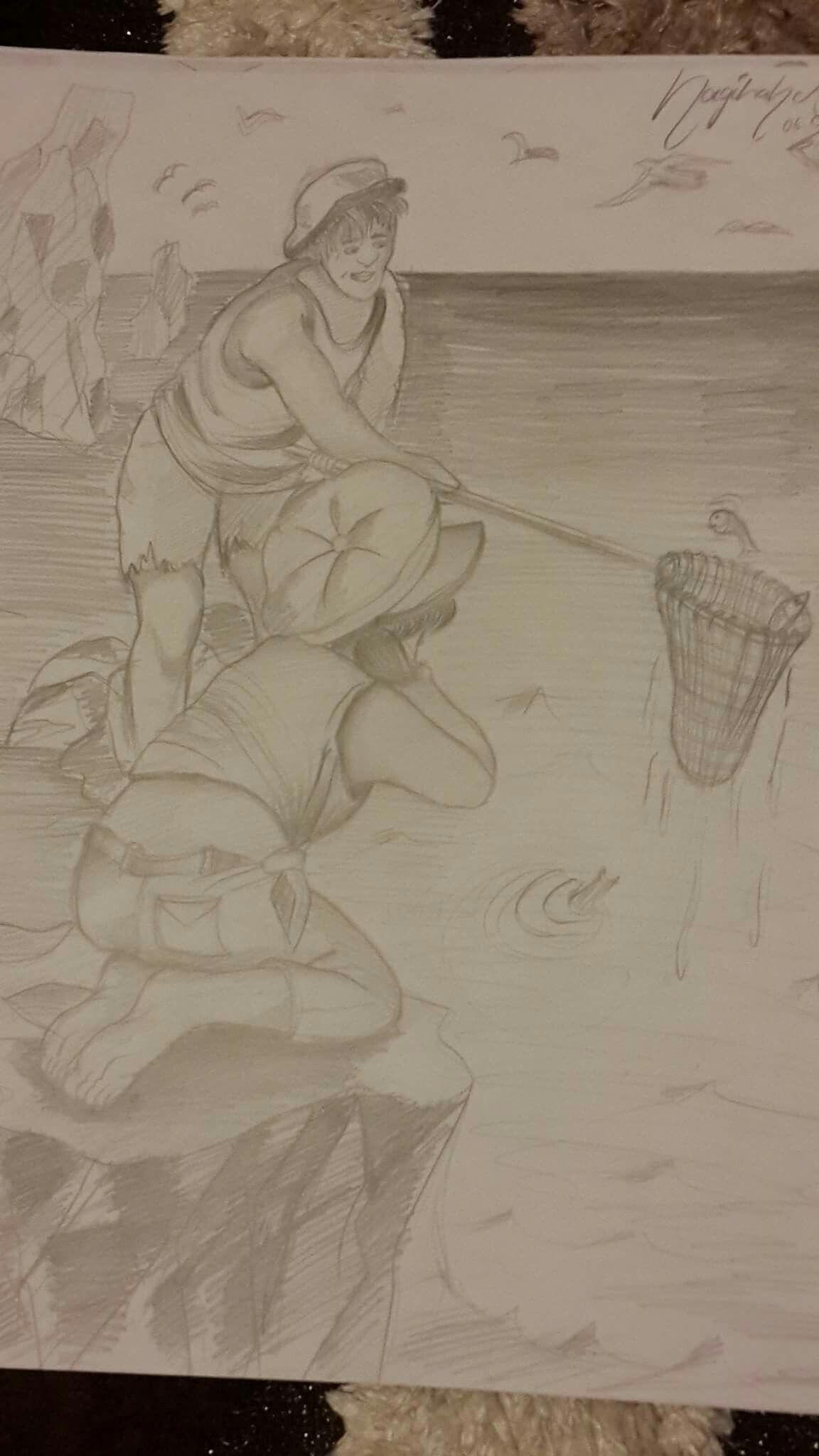 Balık Tutan Adam Ve Onu Izleyen Küçük Kızdan Oluşan 2 Figürlü
