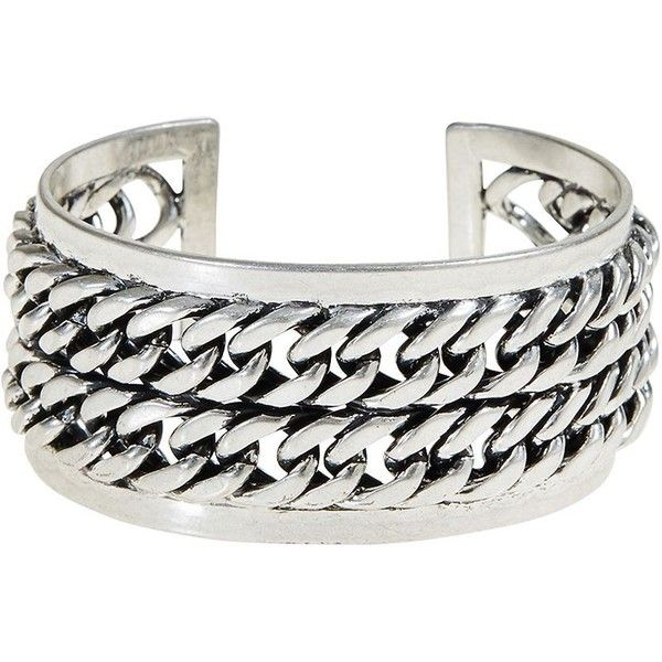 Lucky Brand Chain Cuff ($21) ❤ liked on Polyvore featuring jewelry, bracelets, silver, silver bangles, silver chain jewelry, cuff bangle, silver cuff bangle and chains jewelry