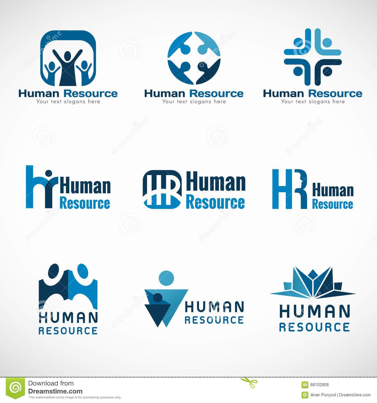 Human Resources (HR) Logo Vector Set Design For Business