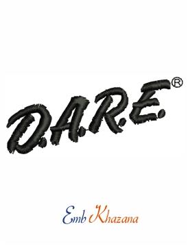 Dare Logo Embroidery Design Embroidery Logo Embroidery Designs Embroidery