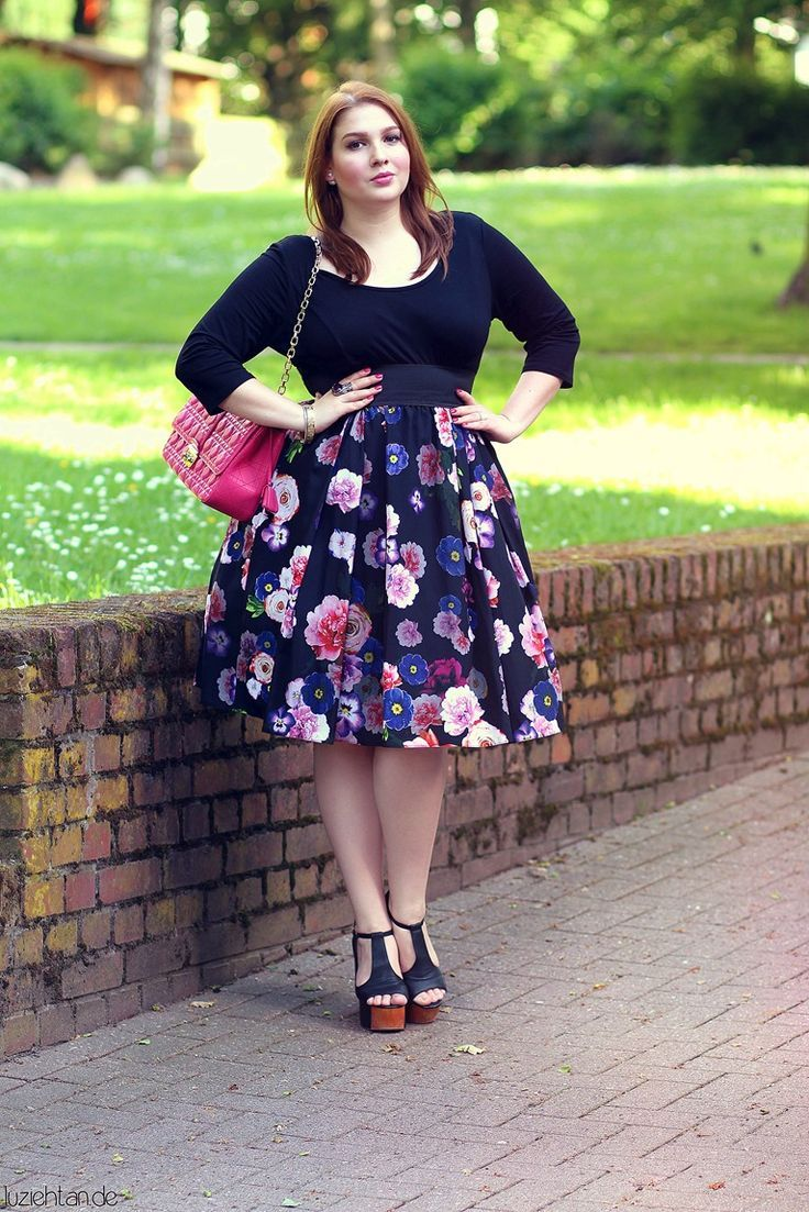 5 ways to wear a plus size floral skirt  eb34cae578