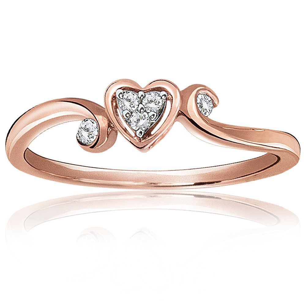 Diamond Cluster Heart Shape Promise Ring In 10k Rose Gold Heart Shaped Promise Rings Engagement Rings Sapphire Womens Engagement Rings