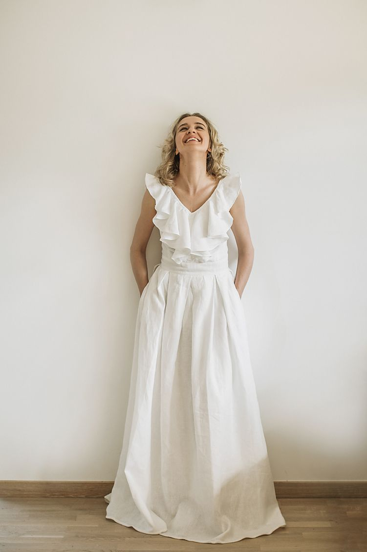 35007d36d7 Linen wedding dress. Handcrafted by Cozyblue. All our linen wedding dresses  are made to