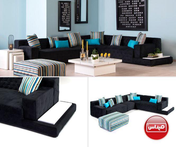 كورنر بأرقى درجات اللون الكحلي أضفنا عليه بعض الخداديات لتعطي حيوية أكثر السعر 616 دينار كويتي 9950 ريال س Furniture Outdoor Furniture Sets Outdoor Furniture