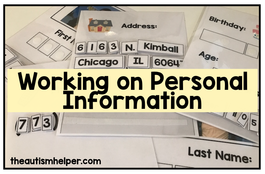 Working on Personal Information   Autism  Life skills and School School worksheets