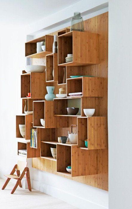 Moderno c bico librer as pared estanter as abierta estantes de madera estanter as diy expandible - Libreros de madera modernos ...
