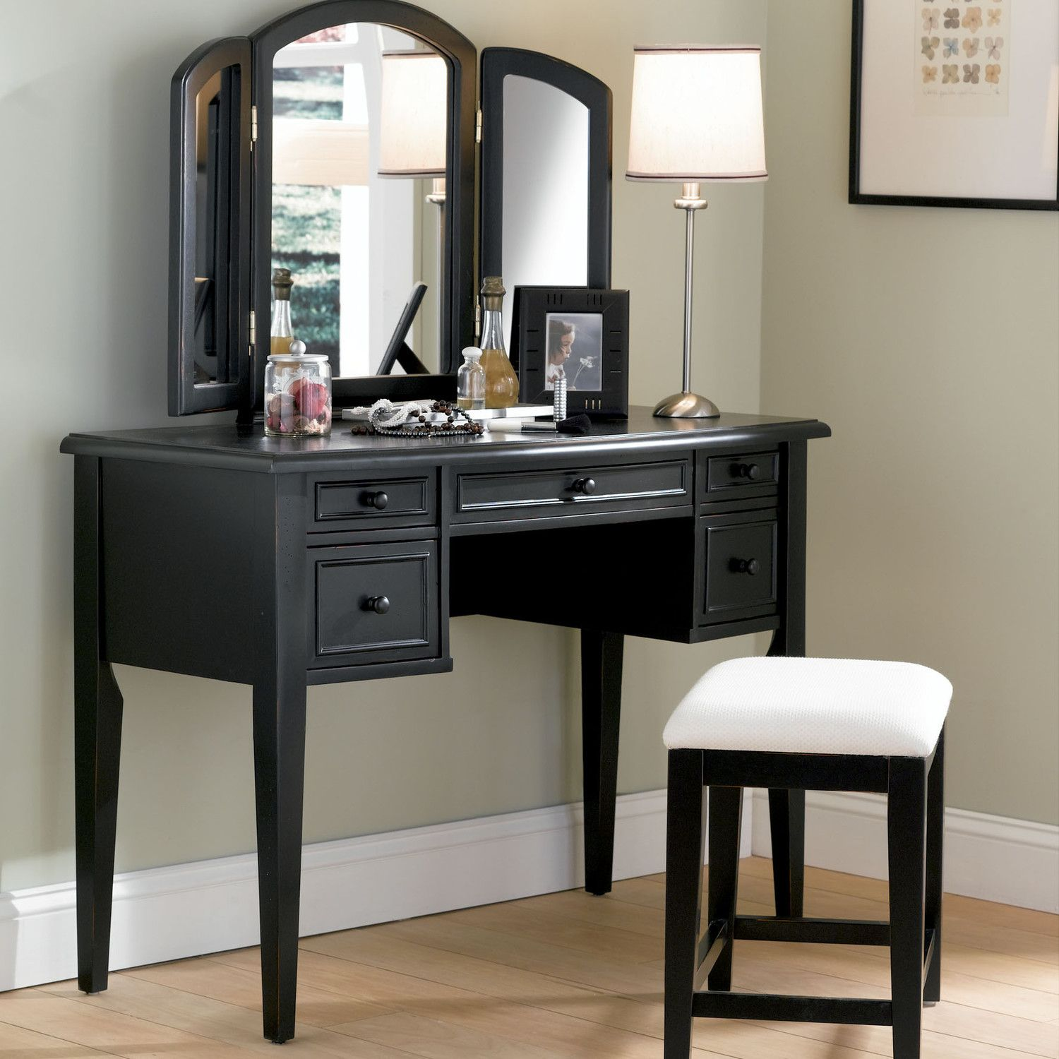 Powell Antique Black Vanity Set with Mirror - Features: Product Type: -Vanity Set. Style: -Traditional. Finish