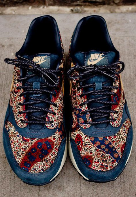 on sale 8db09 c5948 theclassyissue  Nike Air Max 1 X Liberty QS-Armory Navy  Vachetta Tan.