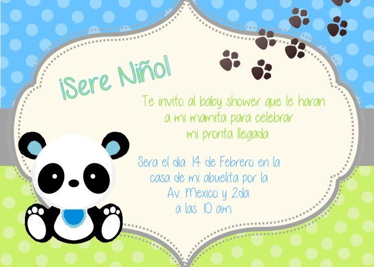 Invitacion Shower Niño Panda Tarjetas Baby Shower Niña