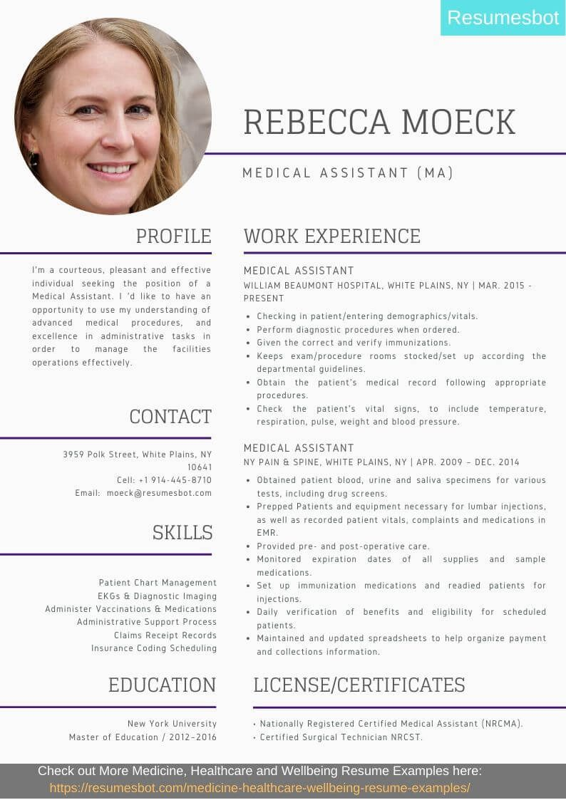 Medical assistant resume samples templates pdfdoc