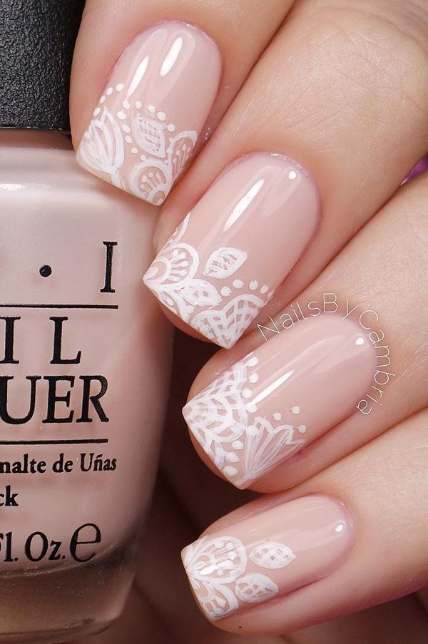 Floral Inspired Nude Nail Art Give Life To Your Nails By Adding White Polish On The Tips With Flower Details Them