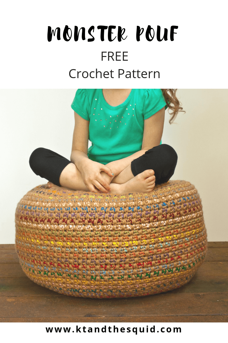 Stash Busting Monster Pouf: A Free Crochet Pattern | KT and theSquid – KT and the Squid – Cool DIY
