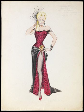 "Costume design sketch by Travilla for Marilyn Monroe in 'River of No Return"", 1954. Colección Maite Minguez Ricart."
