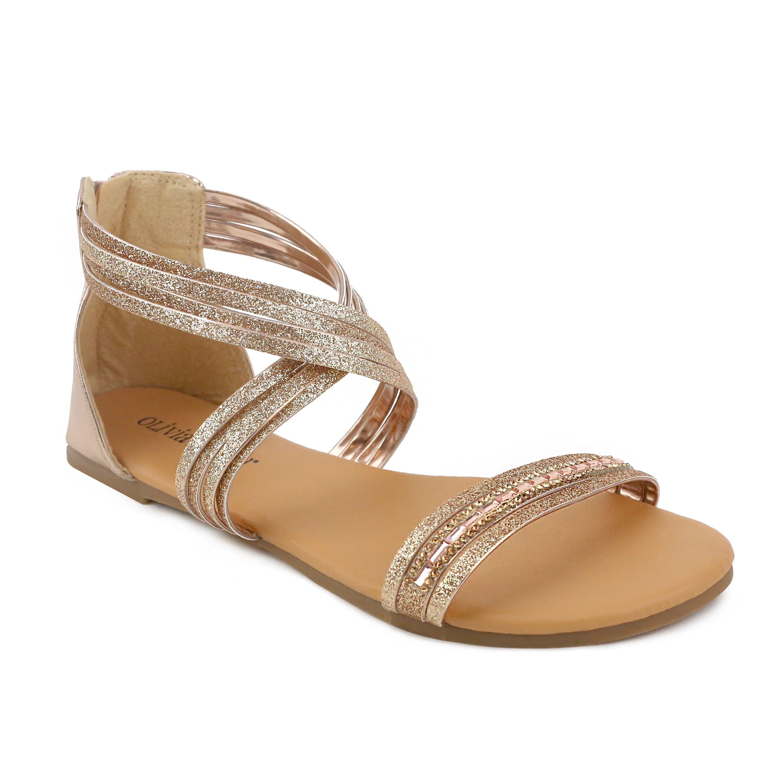 Women's sandals with bling - Om Olivia Miller Women S Zandra Rhinestone Sandals