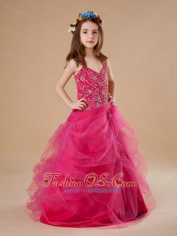 Hot Pink Halter Beading Tulle A-Line Flower Girl Dress Floor ...
