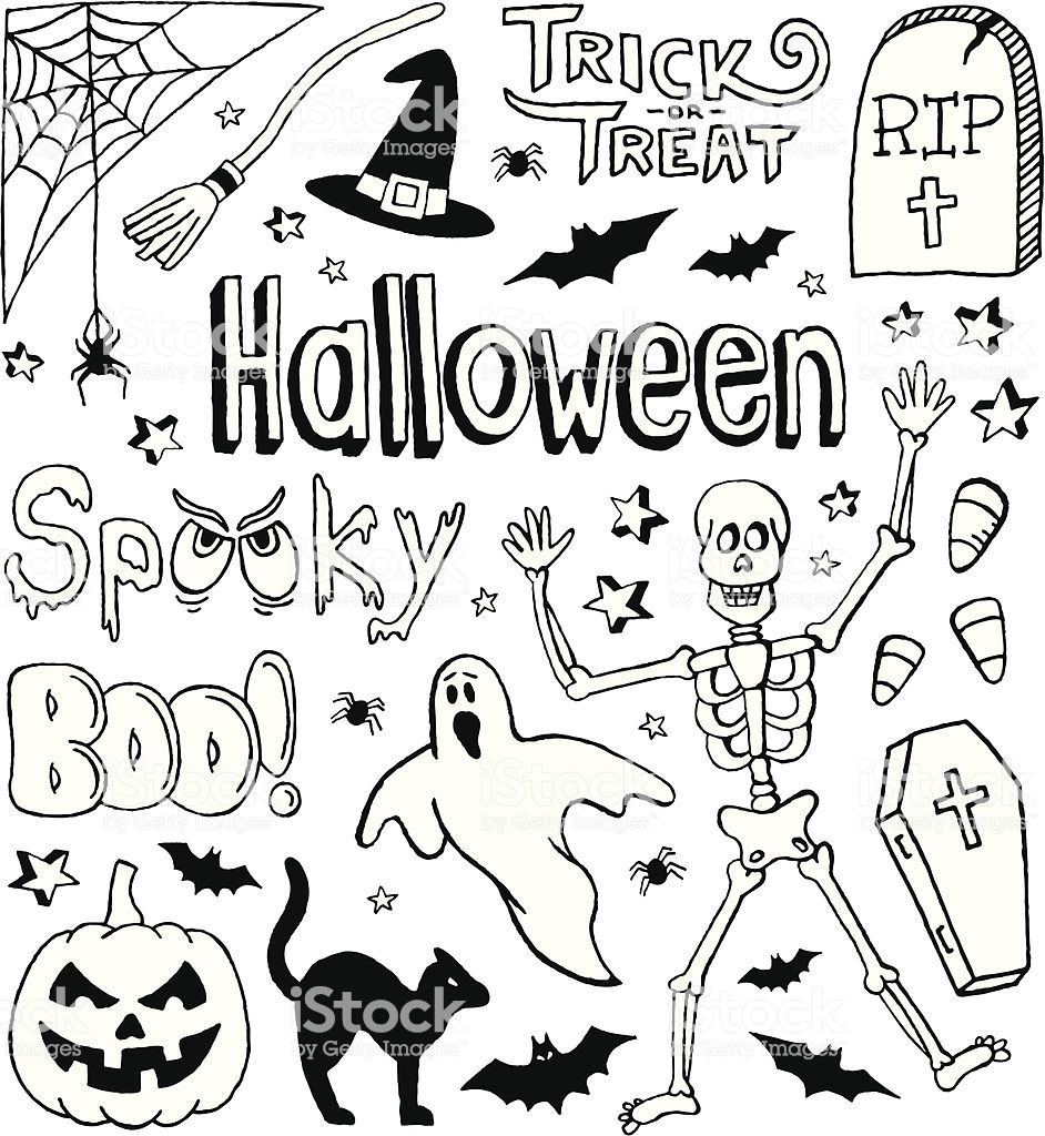 A Halloweenthemed doodle page. (con imágenes