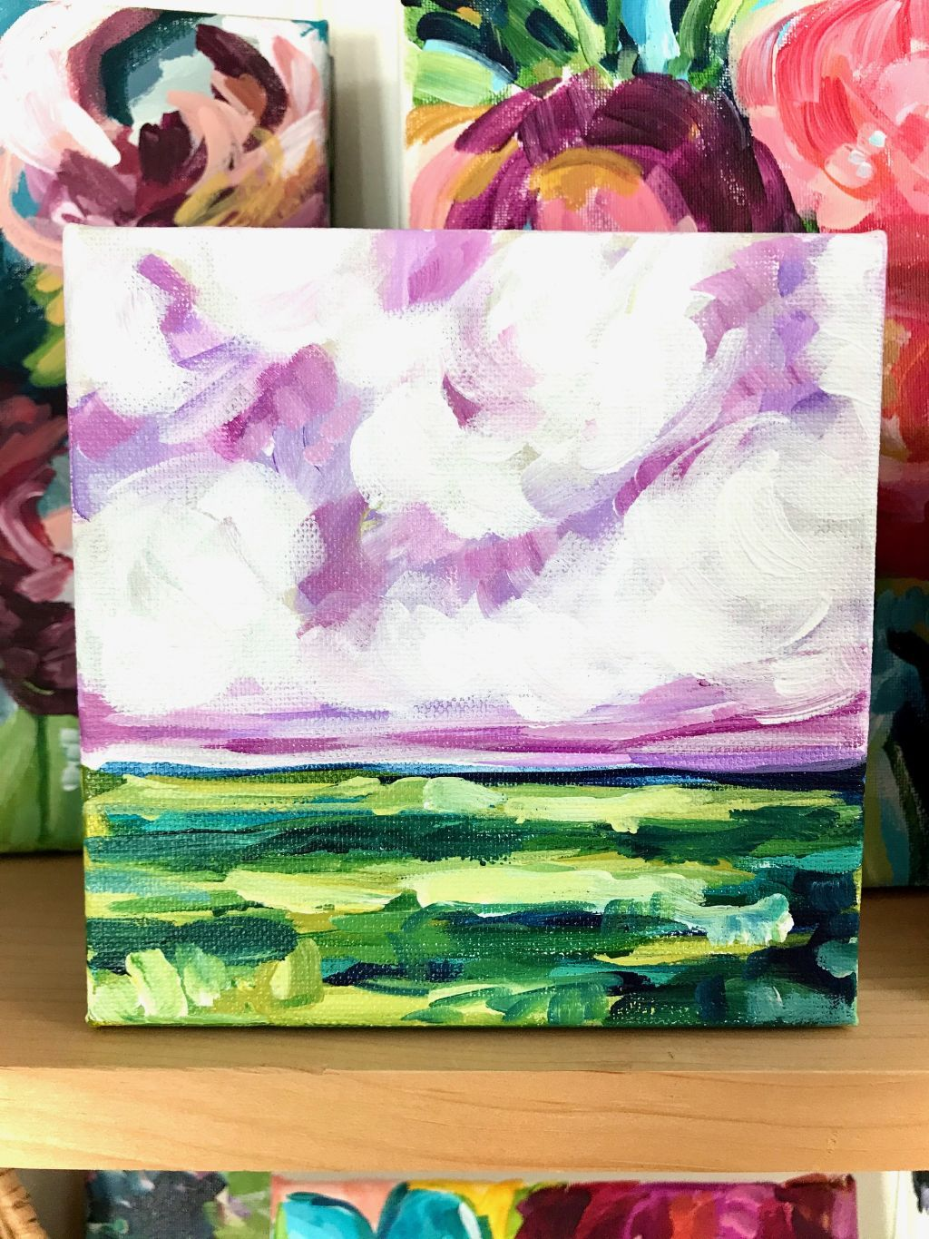 Easy Landscape Painting Step By Step How To Paint A Landscape With Acrylic Paint On Canvas De In 2020 Purple Paintings Canvas Easy Landscape Paintings Purple Painting