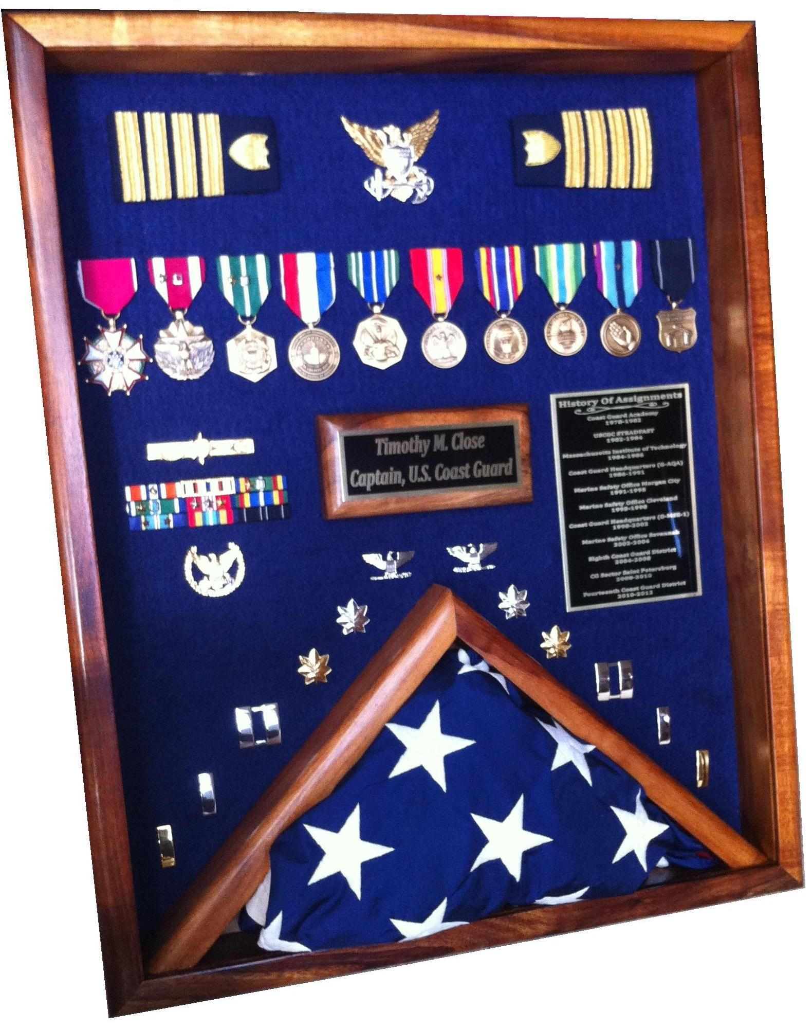Coast Guard Captain Shadowbox Military Pinterest