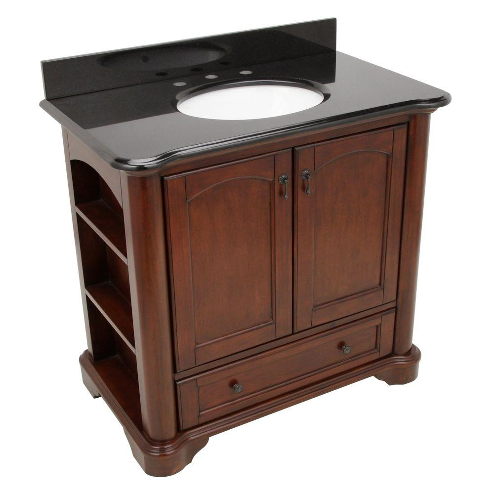 Pegasus Vermont 36 In Vanity In Mahogany With Granite Vanity Top In Black And Sink 9078 Vs36a With Images Granite Vanity Tops Bathroom Vanity Tops Vanity Top