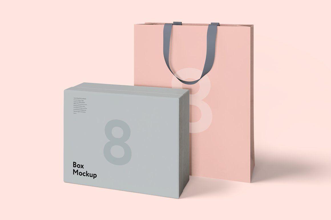 Download Box And Bag Mock Up Set 8psd Bag Mockup Box Mockup Luxury Box Packaging