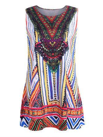 Sleeveless Printed O-Neck Mini Dresses For Women