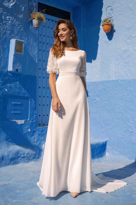 Simple Aline Minimalist Scoop Short Sleeve Open Back Wedding Etsy In 2021 Modest Bridal Gowns Lace Sweetheart Wedding Dress Chiffon Wedding Dress [ 1500 x 1000 Pixel ]