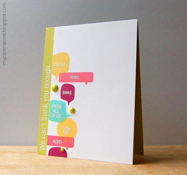 My Paper Secret Gracias Merci Danke Simple Cards Handmade Inspirational Cards Paper Cards
