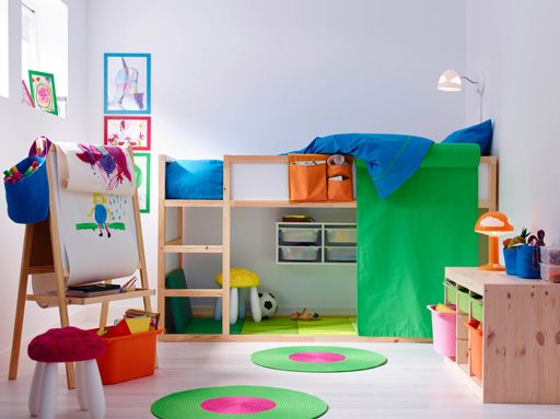 Kids Bedroom Drawing a colourful children's room with a loft bed in solid pine with