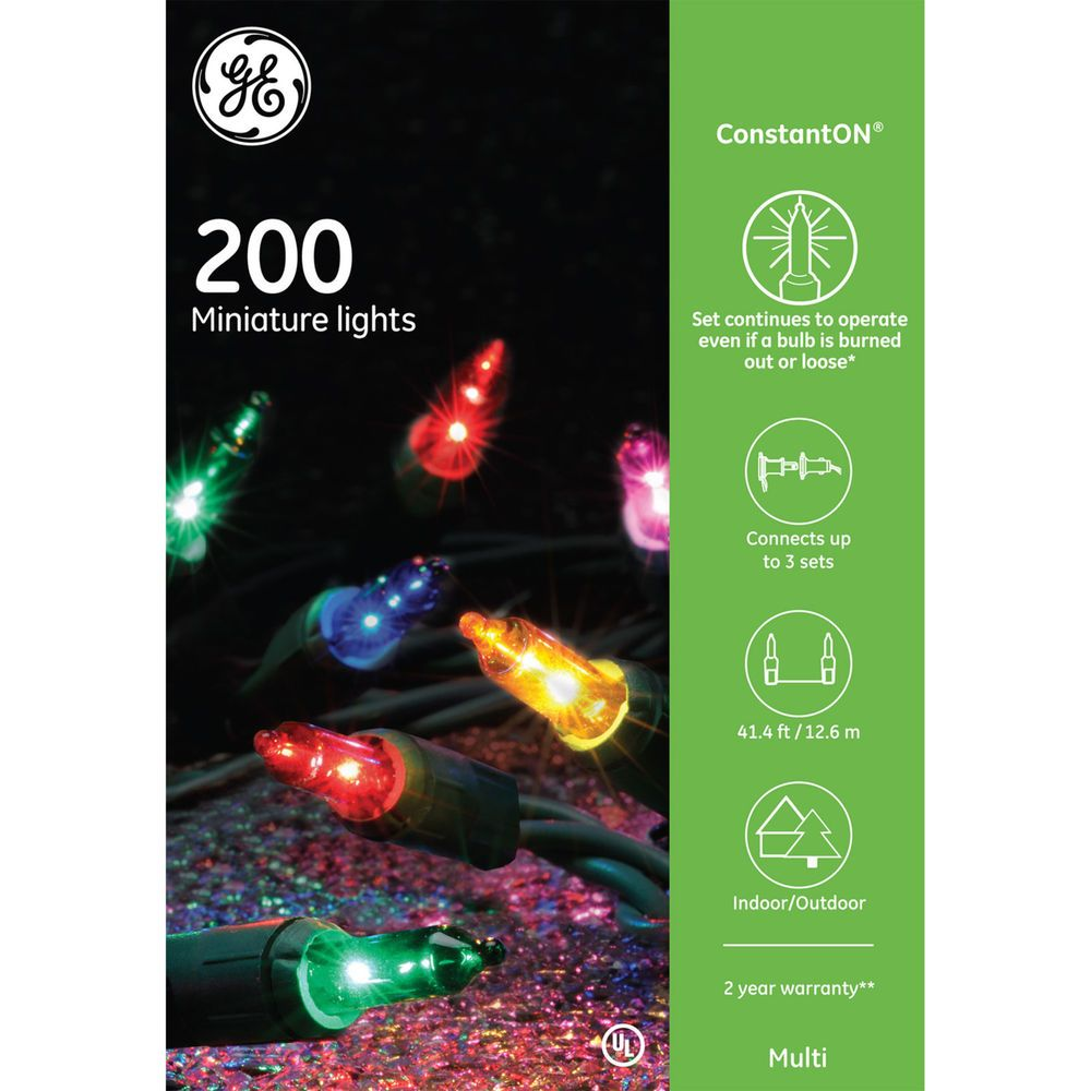 GE 200CT Constant ON Miniature Christmas Lights String Set Multi ...