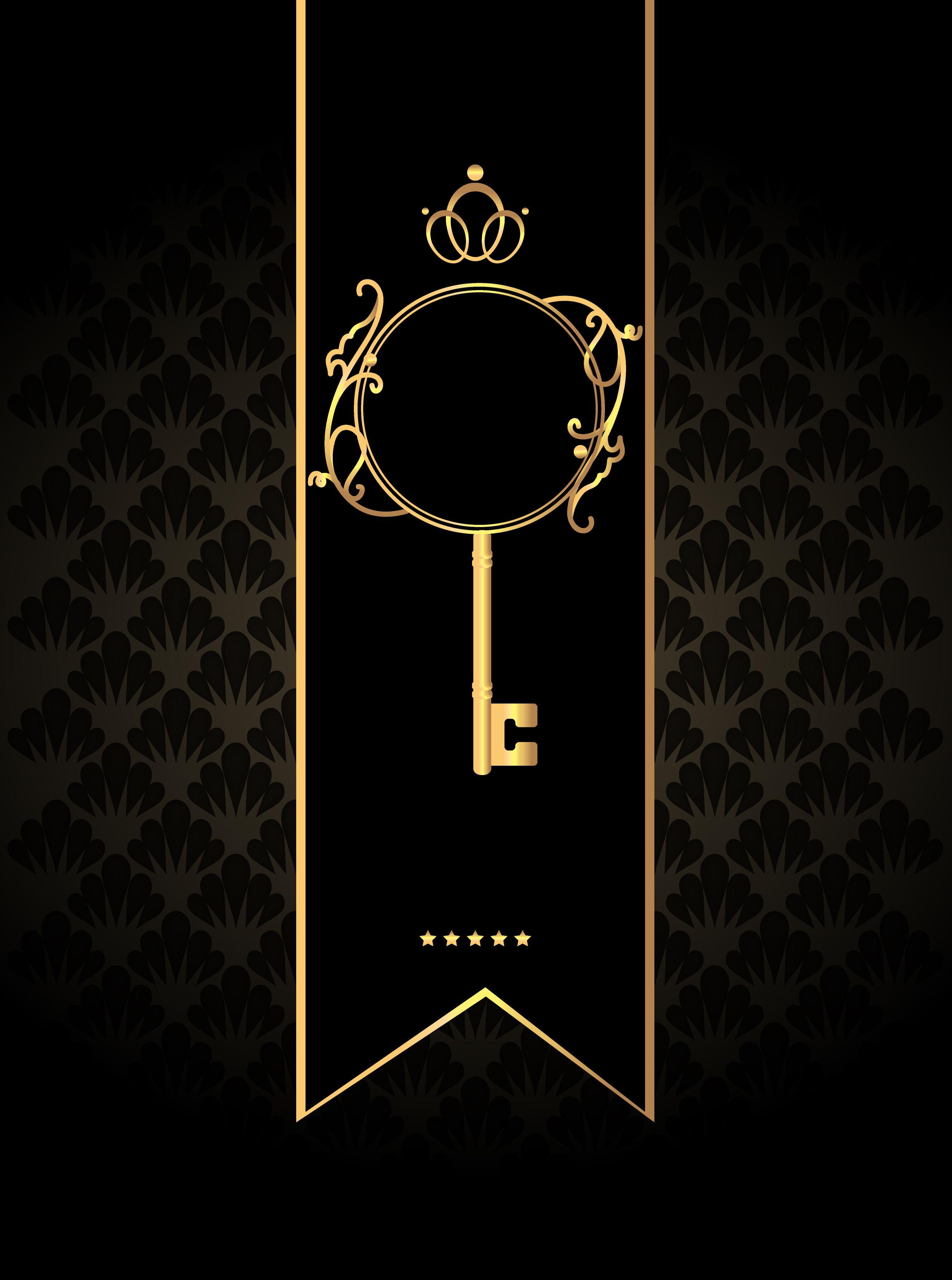Black Background Invitations Background Vector Golden Key Golden Key Invitation Background Art Deco Borders