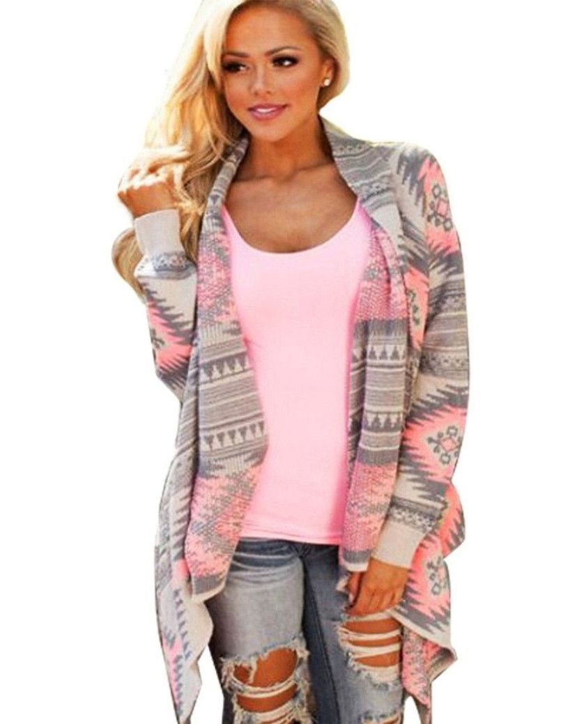 Pink and Grey Tribal Print Cardigan | Women's tops, Print... and ...