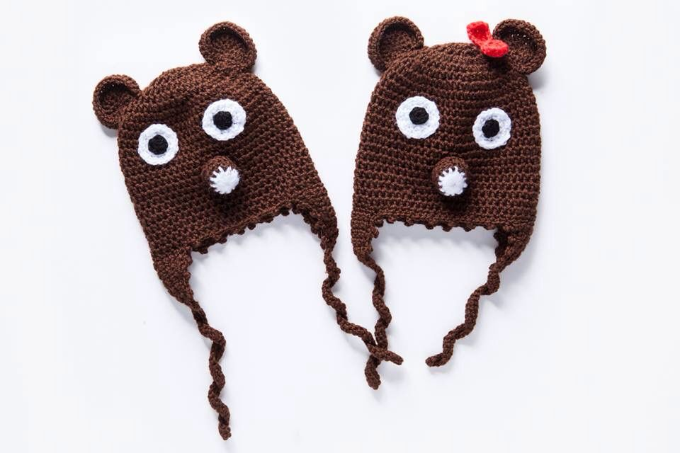 check out 482c3 55984 Twin set of hand knit hats teddy bear! Now available on ...