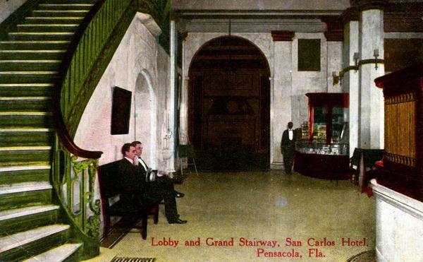 Florida Memory - Lobby and grand stairway, San Carlos Hotel