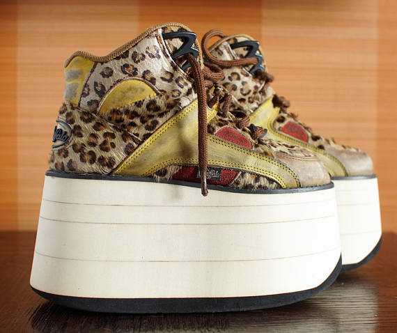 BUFFALO Tower Leopard 10cm Platform Rave Club Kid sneakers