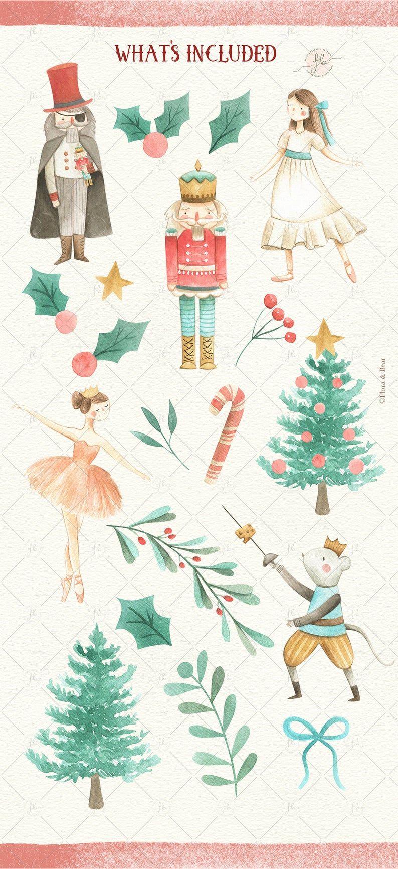 Watercolor Nutcracker Clipart Christmas Tree Clip art Ballerina Winter Onederland Invitation Winter Soldier