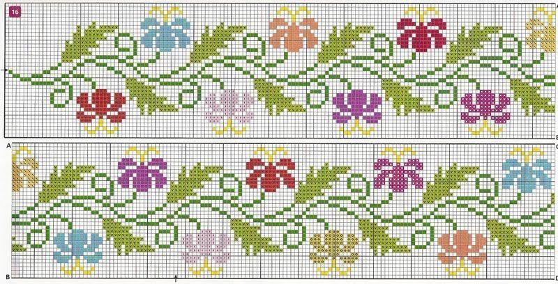Solte a imaginação com estas lindas flores barradas em ponto cruz. Bicos de crochê retirados do picasa da Mirian. Beijos a todas e es...