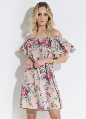 a50d3afc1 Vestido Quintess (Floral) Ombro a Ombro com Babado | Look primavera ...