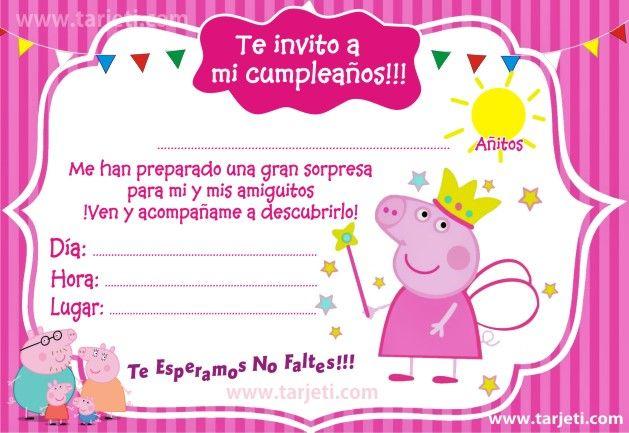 Invitaciones De La Peppa Pig Para Imprimir Gratis Tarjeti