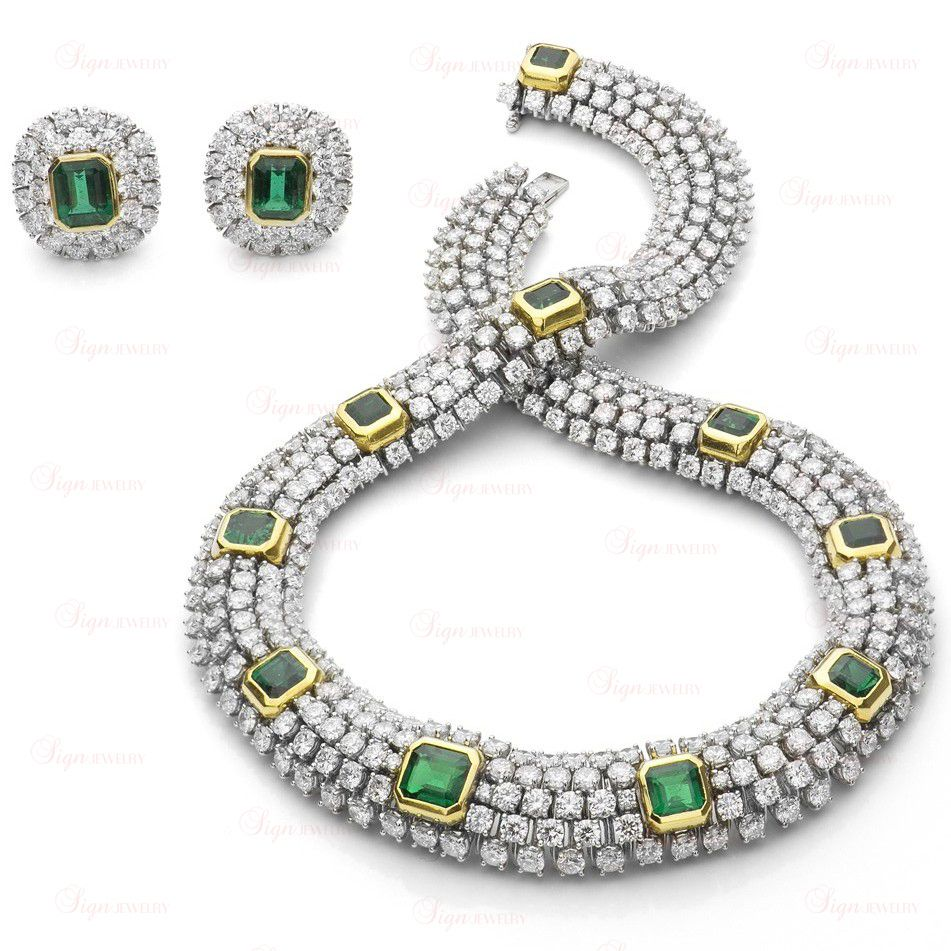 TIFFANY & CO. Platinum Gold Diamond Emerald Necklace & Earrings ...