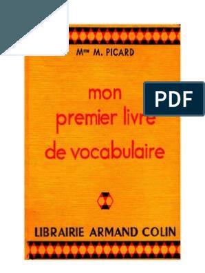 Langue Francaise Vocabulaire Mon Premier Livre De