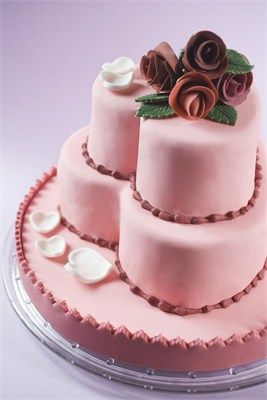 Pink heart shaped wedding cake