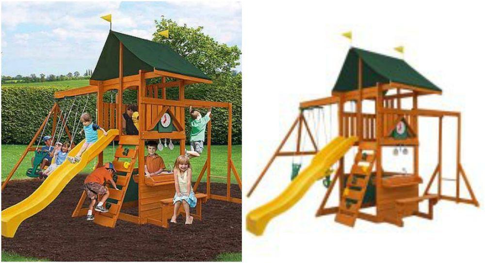 Wooden Swing Set Outdoor Backyard Kids Playground Playset Ladder