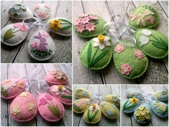 Pastel Felt Easter decoration, Felt Easter ornaments, Pastel Easter decor, Pastel Easter ornaments, Pastel spring decoration by DusiCrafts