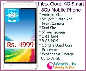Intex Cloud 4G Smart 8 Gb Mobile Phone Rs 4999 | Mobile & Accessories