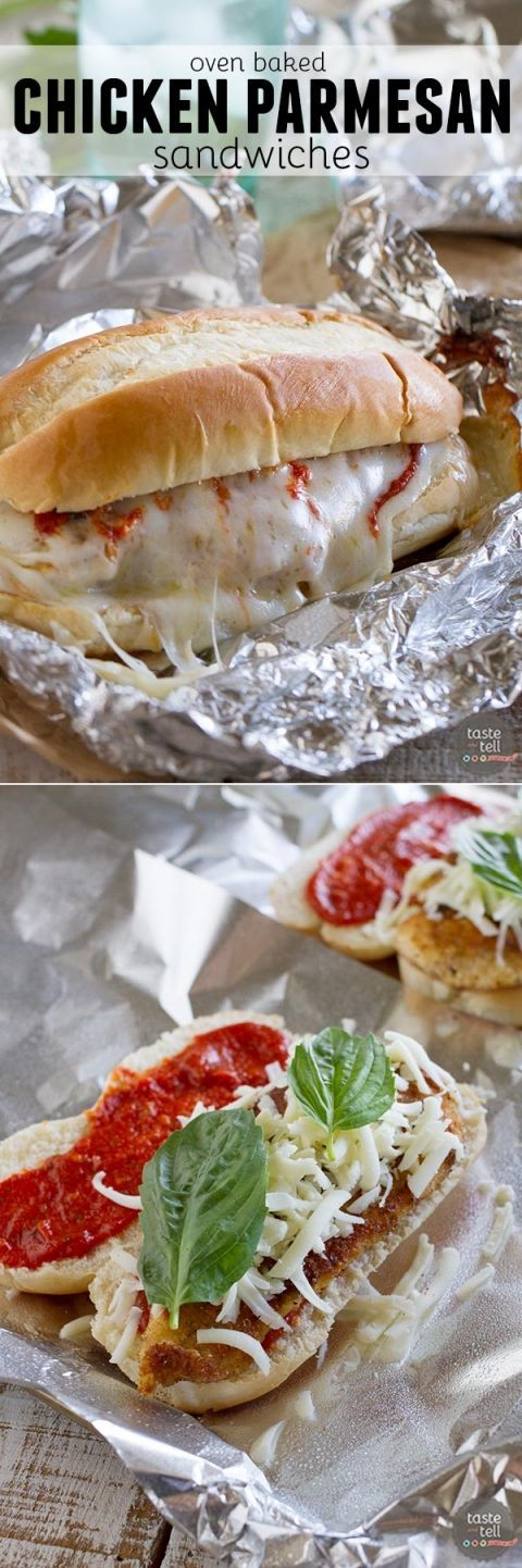 Baked Chicken Parmesan Sandwiches Chicken Parmesan goes sandwich style in these easy and portable Oven Baked Chicken Parmesan Sandwiches.  Breaded chicken is topped with marinara, cheese and basil, layered on a roll, then baked in a foil packet.