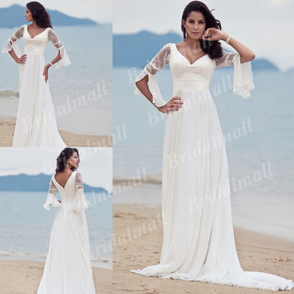 Free shipping sheath v neck chiffon court train casual for Beach wedding dresses with sleeves