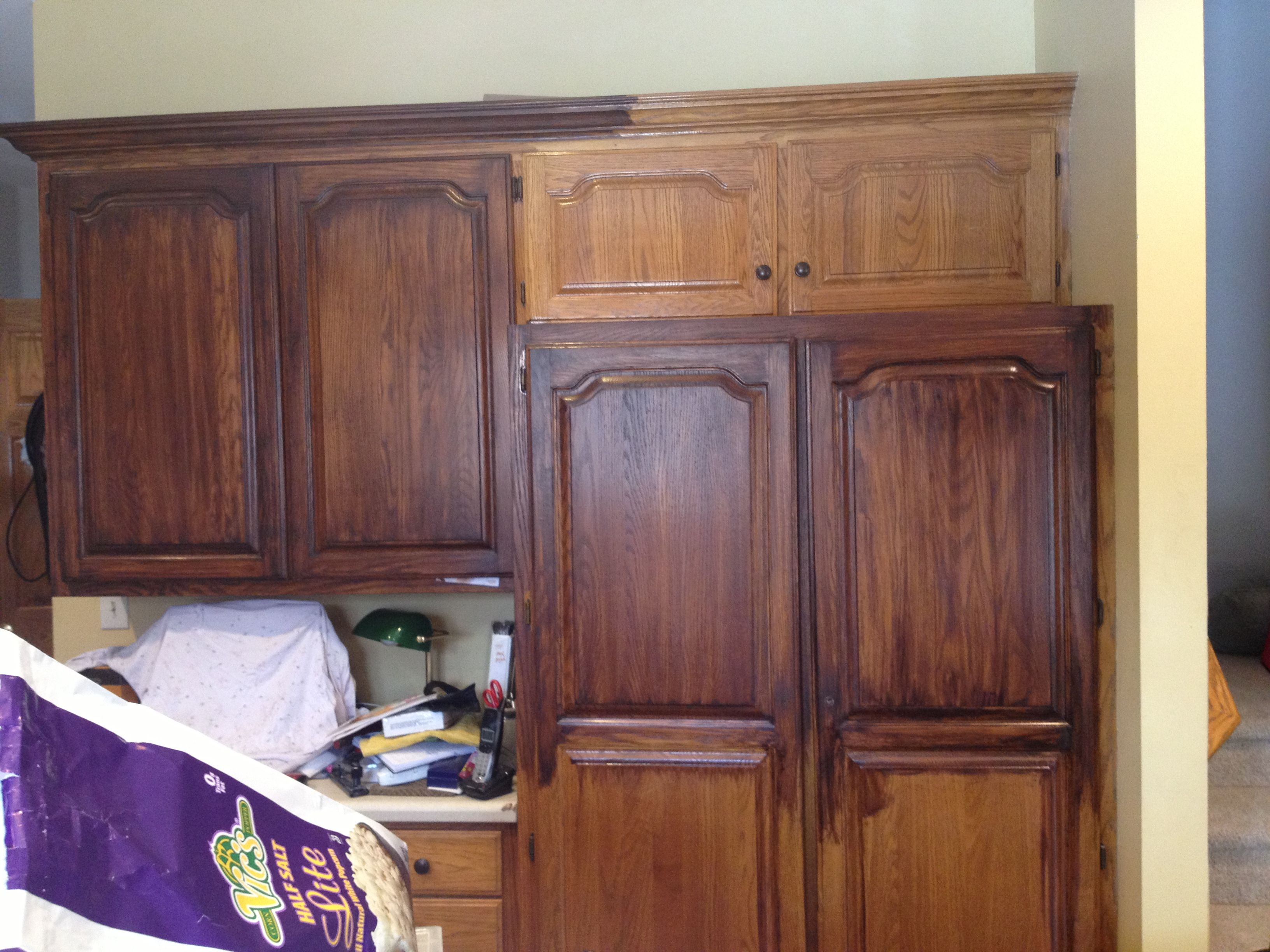 Java Stained Kitchen Cabinets General Finishes Antique Walnut And Java Gel Stains | My