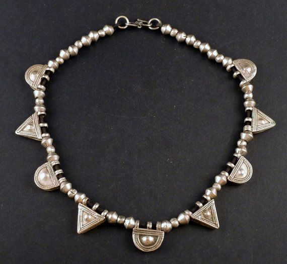 Ethiopian silver telsum amulets ethnic necklace by ethnicadornment - Size of the necklace: 40 cm (15,74 in). Average size of the telsum pendants: 2,7 cm . $191