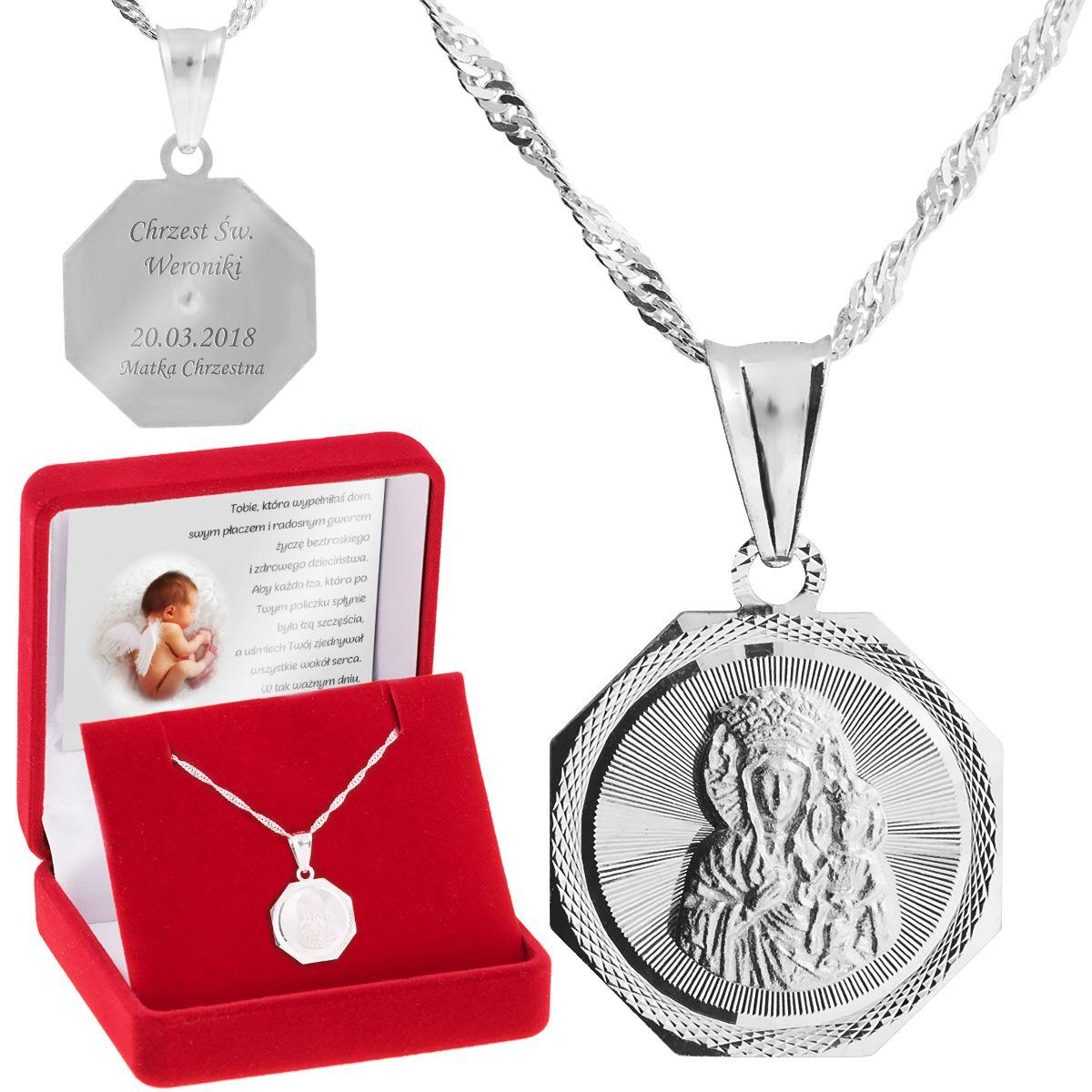 Srebrny Medalik Matka Boska Czestochowska Pr 925 Grawer With